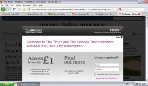 The Times paywall screen