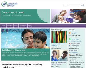 Department of Health website screen shot