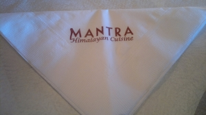 A napkin with the word Mantra
