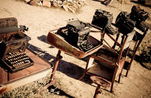 Rusty typewriters outside