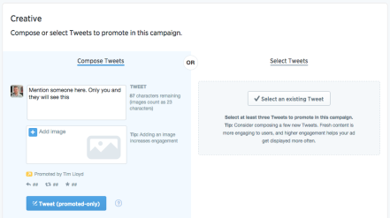 Twitter business compose panel